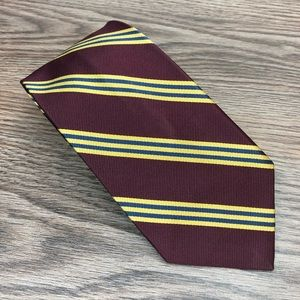 Jos A Bank Maroon w/ Gold & Blue Stripe Tie